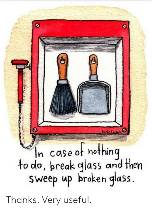 Glass, Case, and Nothing: kuDELKA  In case ot nothing  to do, preak glass and then  Sweep up broken glass. Thanks. Very useful.