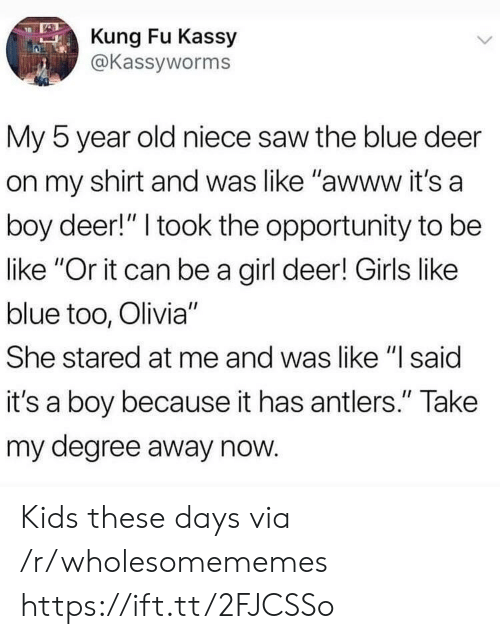 """olivia: Kung Fu Kassy  @Kassyworms  My 5 year old niece saw the blue deer  on my shirt and was like """"awww it's a  boy deer!"""" I took the opportunity to be  like """"Or it can be a girl deer! Girls like  blue too, Olivia""""  She stared at me and was like """"l said  it's a boy because it has antlers."""" Take  my degree away now Kids these days via /r/wholesomememes https://ift.tt/2FJCSSo"""