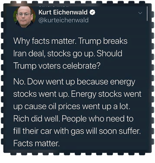 Energy, Facts, and Soon...: Kurt Eichenwald  @kurteichenwald  Why facts matter. Trump breaks  Iran deal, stocks go up. Should  Trump voters celebrate?  No. Dow went up because energy  stocks went up. Energy stocks went  up cause oil prices went up a lot.  Rich did well. People who need to  fill their car with gas will soon suffer.  Facts matter.