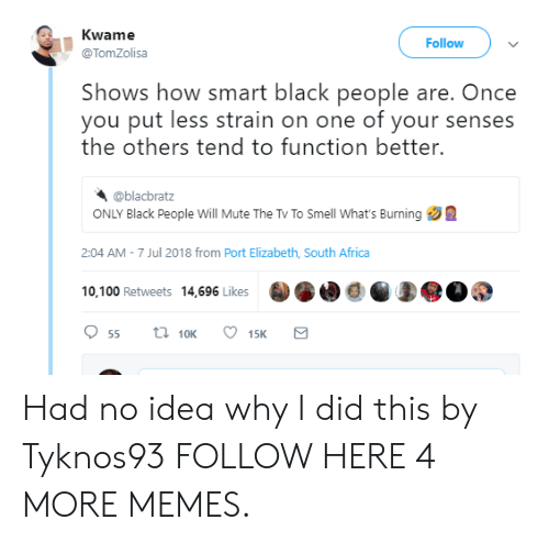 Africa, Dank, and Memes: Kwame  @TomZolisa  Follow  Shows how smart black people are. Once  you put less strain on one of your senses  the others tend to function better.  @blacbratz  ONLY Black People Will Mute The Tv To Smell What's Burning  2:04 AM - 7 Jul 2018 from Port Elizabeth, South Africa  10,100 Retweets 14,696 LikesO0Q0  10K Had no idea why I did this by Tyknos93 FOLLOW HERE 4 MORE MEMES.