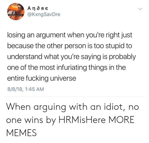 infuriating: @KxngSavDre  sippin on yo girl pussy juice lkee  losing an argument when you're right just  because the other person is too stupid to  understand what you're saying is probably  one of the most infuriating things in the  entire fucking universe  8/8/18, 1:45 AM When arguing with an idiot, no one wins by HRMisHere MORE MEMES