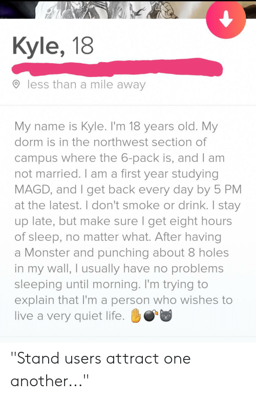 """Life, Monster, and Holes: Kyle, 18  less than a mile away  My name is Kyle. I'm 18 years old. My  dorm is in the northwest section of  campus where the 6-pack is, and I am  not married. I am a first year studying  MAGD, and I get back every day by 5 PM  at the latest. I don't smoke or drink. I stay  up late, but make sure I get eight hours  of sleep, no matter what. After having  a Monster and punching about 8 holes  in my wall, I usually have no problems  sleeping until morning. I'm trying to  explain that I'm a person who wishes to  live a very quiet life. """"Stand users attract one another..."""""""