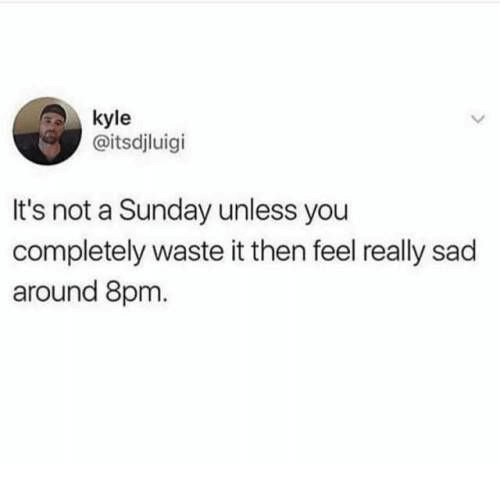 Unless: kyle  @itsdjluigi  It's not a Sunday unless you  completely waste it then feel really sad  around 8pm