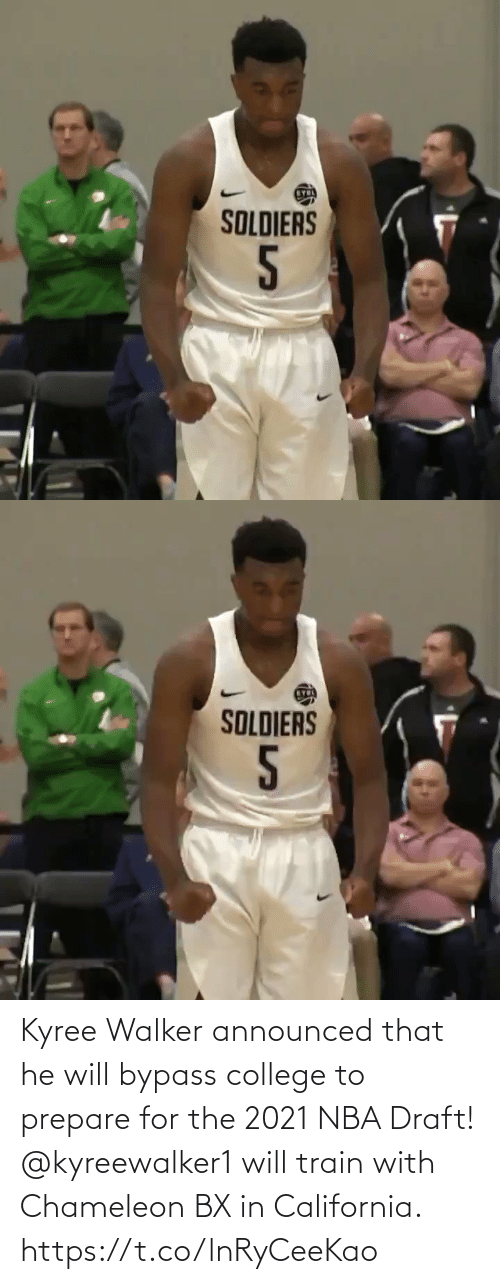walker: Kyree Walker announced that he will bypass college to prepare for the 2021 NBA Draft! @kyreewalker1 will train with Chameleon BX in California. https://t.co/lnRyCeeKao