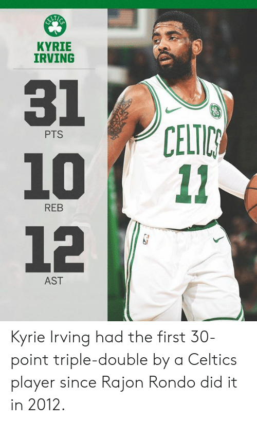 rondo: KYRIE  IRVING  31  1011  12  CELTIC  PTS  REB  AST Kyrie Irving had the first 30-point triple-double by a Celtics player since Rajon Rondo did it in 2012.