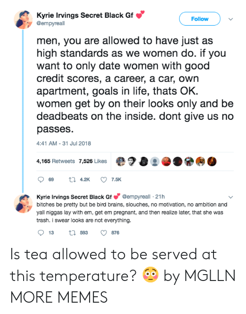 Brains, Dank, and Goals: Kyrie Irvings Secret Black Gf  @empyreall  Follow  men, you are allowed to have just a:s  high standards as we women do. if you  want to only date women with good  credit scores, a career, a car, own  apartment, goals in life, thats OK  women get by on their looks only and be  deadbeats on the inside. dont give us no  passes  :41 AM-31 Jul 2018  4,165 Retweets 7,526 Likes  ·?O···  Kyrie Irvings Secret Black Gf@empyreall 21h  bitches be pretty but be bird brains, slouches, no motivation, no ambition and  yall niggas lay with em, get em pregnant, and then realize later, that she was  trash. i swear looks are not everything  13  593  876 Is tea allowed to be served at this temperature? 😳 by MGLLN MORE MEMES