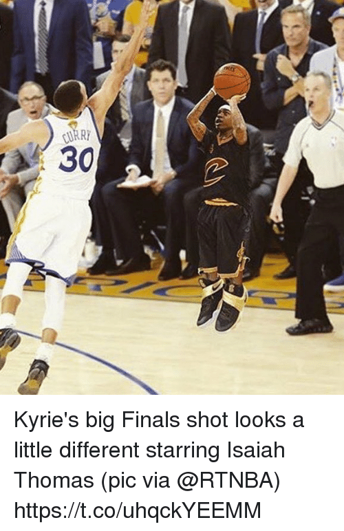 shotting: Kyrie's big Finals shot looks a little different starring Isaiah Thomas   (pic via @RTNBA) https://t.co/uhqckYEEMM