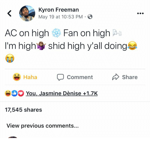 Kyron Freeman May 19 at 1053 PM < AC on High Fan on High I'm