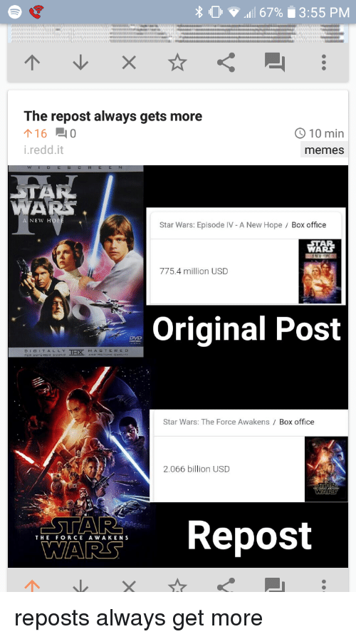 L 67 355 Pm The Repost Always Gets More 16 0 O10 Min Ireddit Memes New Ho Star Wars Episode Iv A New Hope Box Office 恐 7754 Million Usd Original Post