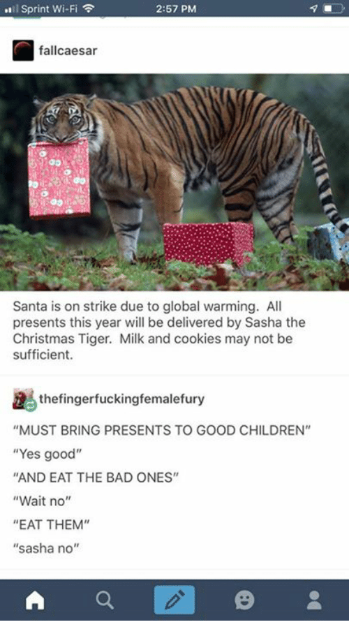 "Bad, Children, and Christmas: l Sprint Wi-Fi  2:57 PM  fallcaesar  Santa is on strike due to global warming. All  presents this year will be delivered by Sasha the  Christmas Tiger. Milk and cookies may not be  sufficient.  thefingerfuckingfemalefury  ""MUST BRING PRESENTS TO GOOD CHILDREN""  ""Yes good""  AND EAT THE BAD ONES""  ""Wait no""  ""EAT THEM""  ""sasha no'"""