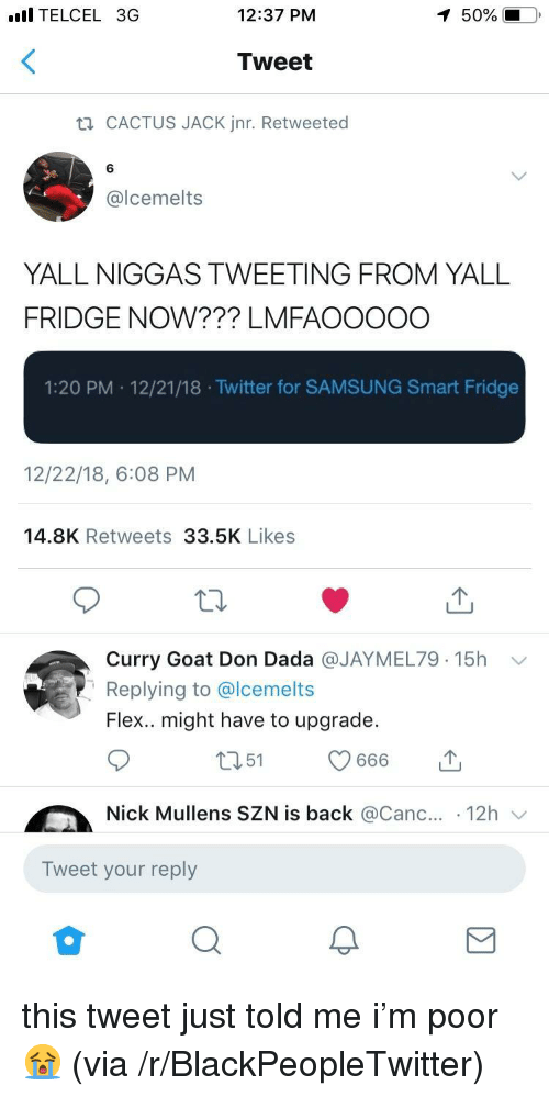 Blackpeopletwitter, Flexing, and Twitter: l TELCEL 3G  12:37 PM  50%  Tweet  CACTUS JACK Jnr. Retweeted  6  @lcemelts  YALL NIGGAS TWEETING FROM YALL  FRIDGE NOW??? LMFAOOOOO  1:20 PM 12/21/18 .Twitter for SAMSUNG Smart Fridge  12/22/18, 6:08 PM  14.8K Retweets 33.5K Likes  Curry Goat Don Dada @JAYMEL79. 15h  Replying to @lcemelts  Flex.. might have to upgrade.  ﹀  Nick Mullens SZN is back @Canc.. 12h  Tweet your reply this tweet just told me i'm poor 😭 (via /r/BlackPeopleTwitter)