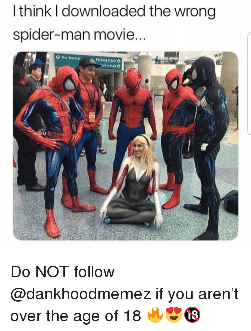 Memes, Spider, and SpiderMan: l think I downloaded the wrong  spider-man movie  The Terrace  Parking C&D Do NOT follow @dankhoodmemez if you aren't over the age of 18 🔥😍🔞