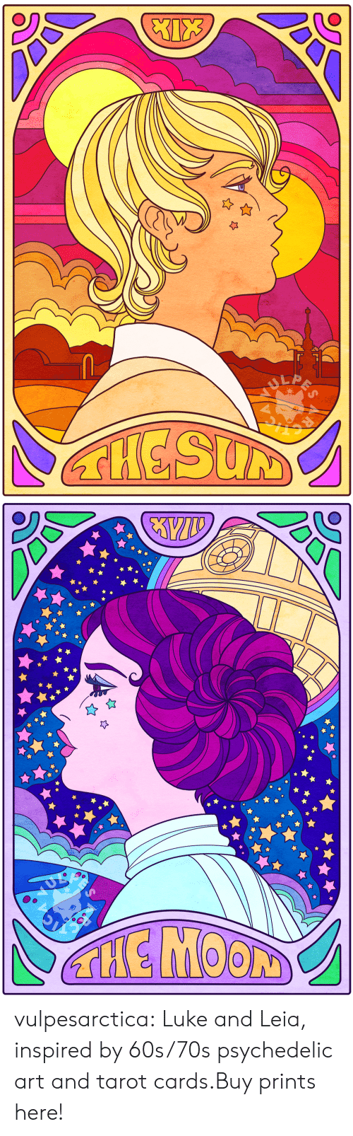 psychedelic: LA  THESUM   THE MOON vulpesarctica:  Luke and Leia, inspired by 60s/70s psychedelic art and tarot cards.Buy prints here!
