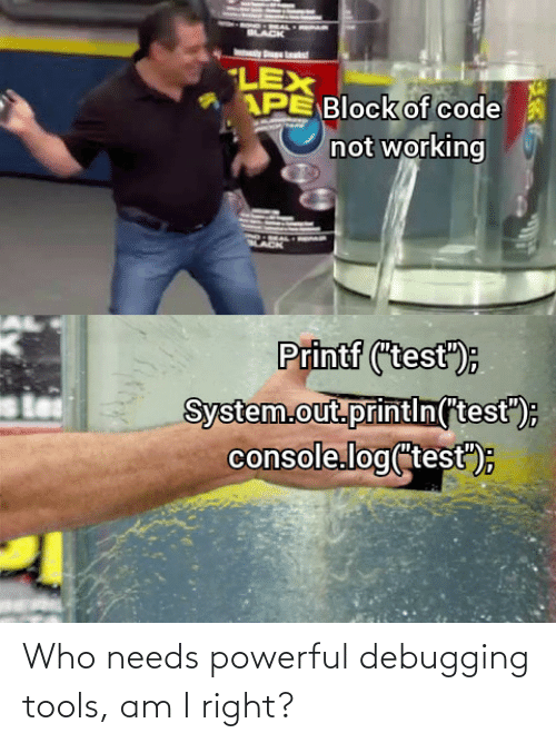 "lack: LACK  LEX  APE Block of code  not working  Printf (""test"");  System.out.printin(test"");  console.log(test"")E Who needs powerful debugging tools, am I right?"