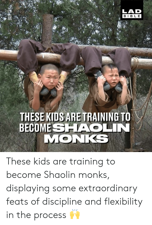 feats: LAD  BIBL E  THESE KIDS ARE TRAINING TO  BECOME SHAOLIN  MONKS These kids are training to become Shaolin monks, displaying some extraordinary feats of discipline and flexibility in the process 🙌