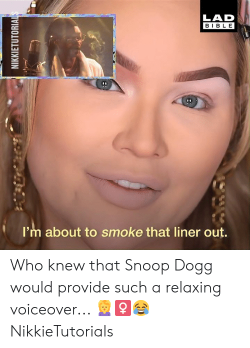 Dank, Snoop, and Snoop Dogg: LAD  BIBLE  I'm about to smoke that liner out. Who knew that Snoop Dogg would provide such a relaxing voiceover... 💆♀😂  NikkieTutorials