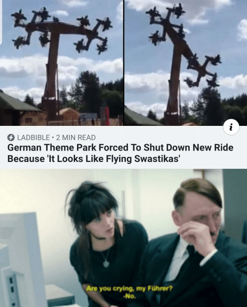Crying, German, and Down: LADBIBLE 2 MIN READ  German Theme Park Forced To Shut Down New Ride  Because 'It Looks Like Flying Swastikas'  Are you crying, my Führer?  -No.