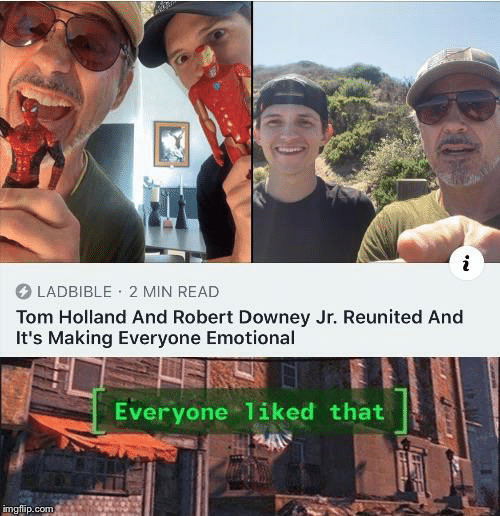 Robert Downey Jr.: LADBIBLE 2 MIN READ  Tom Holland And Robert Downey Jr. Reunited And  It's Making Everyone Emotional  Everyone 1iked that  imgflip.com
