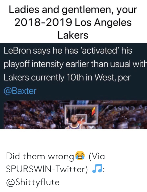 intensity: Ladies and gentlemen, your  2018-2019 Los Angeles  Lakers  LeBron says he has 'activated' his  playoff intensity earlier than usual with  Lakers currently 10th in West, per  @Baxter Did them wrong😂 (Via SPURSWlN-Twitter) 🎵: @Shittyflute