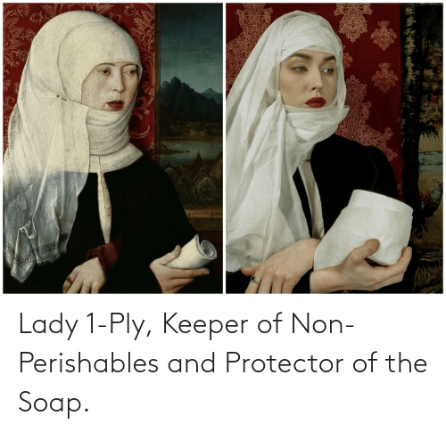 lady: Lady 1-Ply, Keeper of Non-Perishables and Protector of the Soap.