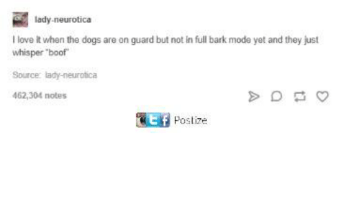 """Boofing: lady-neurotica  I love it when the dogs are on guard but not in full bark mode yet and they just  whisper """"boof  Source lady-neurotica  462,304 notes  Poslize"""