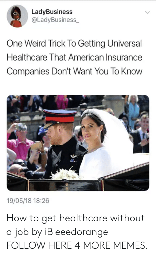 insurance companies: LadyBusiness  @LadyBusiness  One Weird Trick To Getting Universal  Healthcare That American Insurance  Companies Don't Want You To Know  19/05/18 18:26 How to get healthcare without a job by iBleeedorange FOLLOW HERE 4 MORE MEMES.