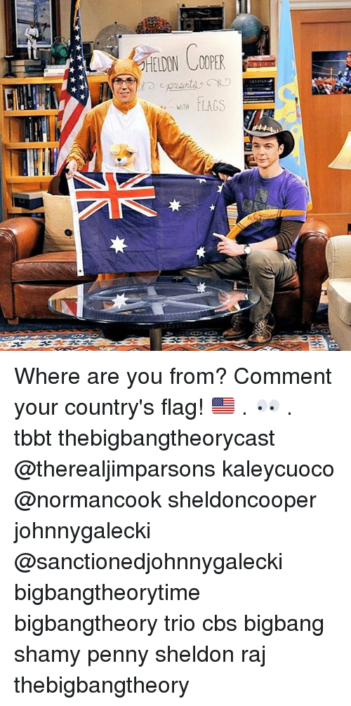 Memes, Cbs, and 🤖: LAGS  WITH Where are you from? Comment your country's flag! 🇺🇸 . 👀 . tbbt thebigbangtheorycast @therealjimparsons kaleycuoco @normancook sheldoncooper johnnygalecki @sanctionedjohnnygalecki bigbangtheorytime bigbangtheory trio cbs bigbang shamy penny sheldon raj thebigbangtheory