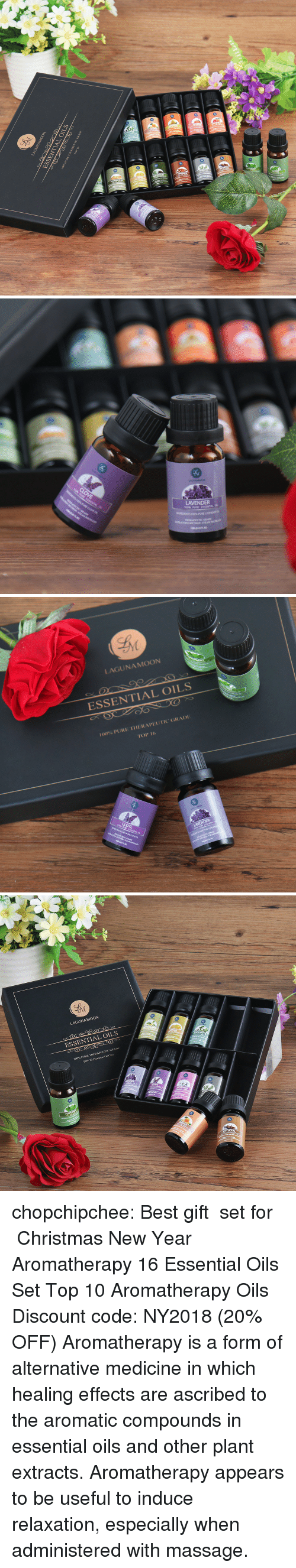 "Anaconda, Christmas, and Massage: LAGUNAMOON  ESSENTIAL OILS  100% PURE 1111:RAPEUT O""GRADI:  101, 16  0   LAVENDER  PURE LAVENDER O  TERAPUTIC GRADE   LAGUNAMOON  ESSENTIAL OILS  100% PURI. IHERAPI"" U l'IC GRADI  TOP 16  LAVENDER   LAGUNAMOON  ESSENTIAL OILS  TOP 10.Premum in Set  CLOVE chopchipchee: Best gift  set for  Christmas  New Year Aromatherapy 16 Essential Oils Set Top 10 Aromatherapy Oils Discount code: NY2018 (20% OFF)  Aromatherapy is a form of alternative medicine in which healing effects are ascribed to the aromatic compounds in essential oils and other plant extracts. Aromatherapy appears to be useful to induce relaxation, especially when administered with massage."