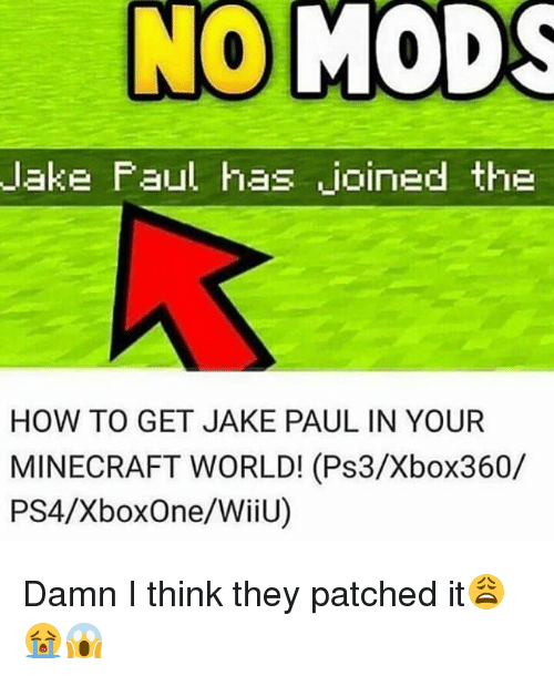 minecrafts: lake Faul has joined the  HOW TO GET JAKE PAUL IN YOUR  MINECRAFT WORLD! (Ps3/Xbox360/  PS4/XboxOne/WiiU) Damn I think they patched it😩😭😱