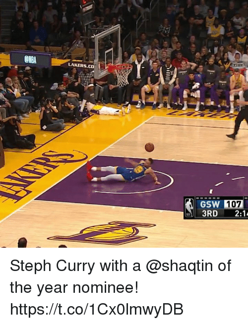Los Angeles Lakers, Memes, and Steph Curry: LAKERS.CO  GSW 107 Steph Curry with a @shaqtin of the year nominee!  https://t.co/1Cx0lmwyDB