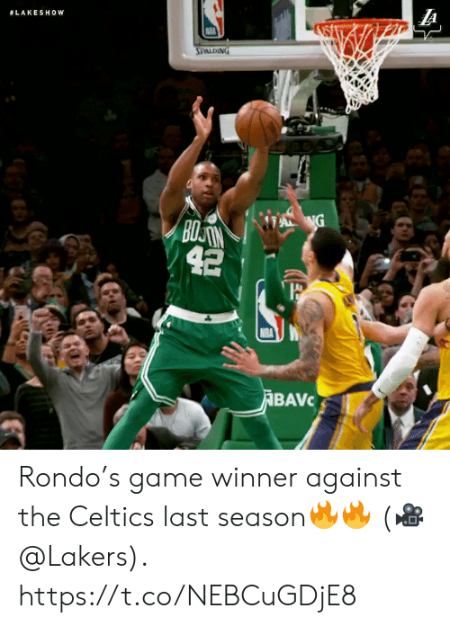 Los Angeles Lakers, Memes, and Nba:  #LAKESHOW  SPALDING  A NG  BOSAN  42  NBA  ABAVC Rondo's game winner against the Celtics last season🔥🔥  (🎥 @Lakers).  https://t.co/NEBCuGDjE8