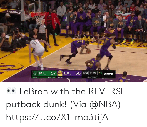 Dunk, Friday, and Memes: LAL 56 2nd 23923 ESFİİ  TO:6  BONUS TO:4  NBA FRIDAY 👀 LeBron with the REVERSE putback dunk!   (Via @NBA) https://t.co/X1Lmo3tijA