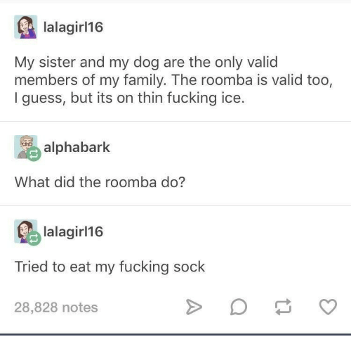 Family, Fucking, and Roomba: lalagirl16  My sister and my dog are the only valid  members of my family. The roomba is valid too,  I guess, but its on thin fucking ice.  alphabark  What did the roomba do?  lalagirl1@  Tried to eat my fucking sock  28,828 notes