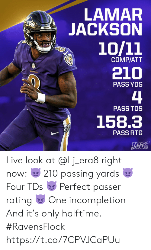 Memes, Nfl, and Live: LAMAR  JACKSON  RAVENS  10/11  RAVENS  COMP/ATT  210  RAVENS  PASS YDS  4  PASS TDS  158.3  PASS RTG  NFL Live look at @Lj_era8 right now: 😈 210 passing yards 😈 Four TDs 😈 Perfect passer rating 😈 One incompletion And it's only halftime. #RavensFlock https://t.co/7CPVJCaPUu