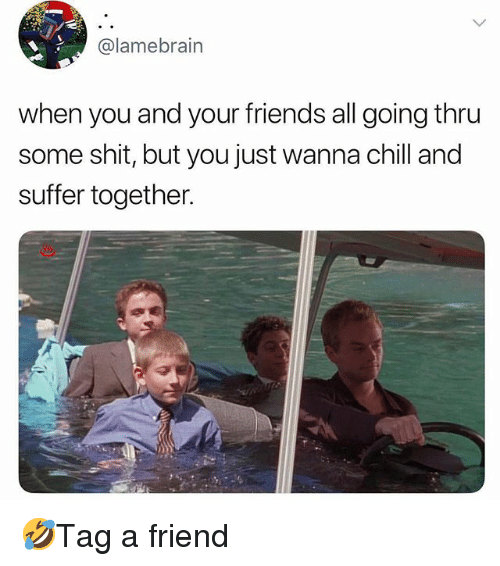 Chill, Friends, and Memes: @lamebrain  when you and your friends all going thru  some shit, but you just wanna chill and  suffer together. 🤣Tag a friend