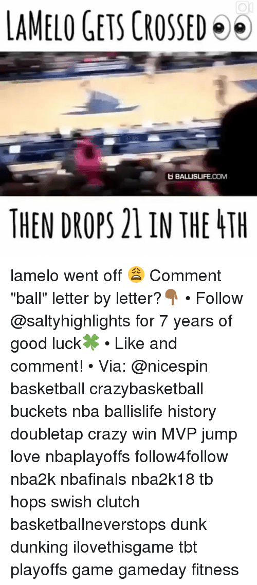 "Basketball, Crazy, and Dunk: LAMELO GETS CROSSED  BALLISLIFE.COM  THEN DROPS 21 IN THE TH lamelo went off 😩 Comment ""ball"" letter by letter?👇🏾 • Follow @saltyhighlights for 7 years of good luck🍀 • Like and comment! • Via: @nicespin basketball crazybasketball buckets nba ballislife history doubletap crazy win MVP jump love nbaplayoffs follow4follow nba2k nbafinals nba2k18 tb hops swish clutch basketballneverstops dunk dunking ilovethisgame tbt playoffs game gameday fitness"
