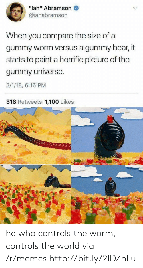 """Memes, Bear, and Http: """"lan"""" Abramson  @ianabramson  When you compare the size of a  gummy worm versus a gummy bear, it  starts to paint a horrific picture of the  gummy universe.  2/1/18, 6:16 PM  318 Retweets 1,100 Likes he who controls the worm, controls the world via /r/memes http://bit.ly/2IDZnLu"""