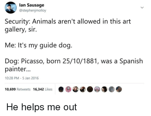 Animals, Spanish, and Picasso: lan Sausage  @stephenjmolloy  Security: Animals aren't allowed in this art  gallery, sir.  Me: It's my guide dog  Dog: Picasso, born 25/10/1881, was a Spanish  painter  10:28 PM-5 Jan 2016  10,699 Retweets 16,342 Likes·ⓦ@G.ⓦ馕@. He helps me out