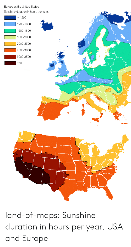 sunshine: land-of-maps:  Sunshine duration in hours per year, USA and Europe