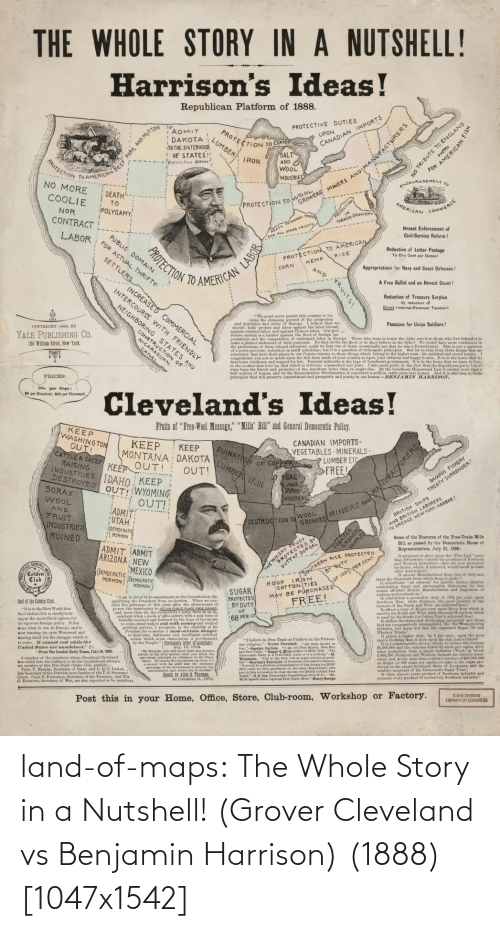 Maps: land-of-maps:  The Whole Story in a Nutshell! (Grover Cleveland vs Benjamin Harrison) (1888) [1047x1542]