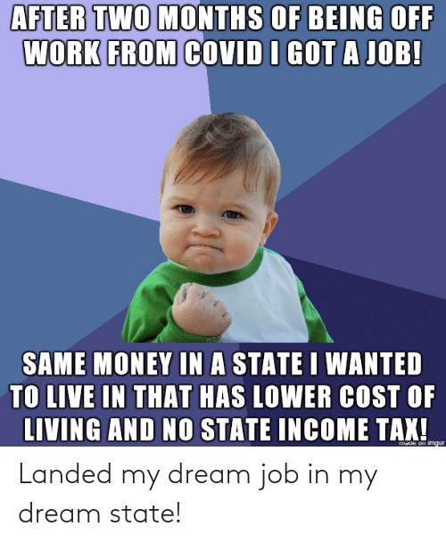 dream: Landed my dream job in my dream state!