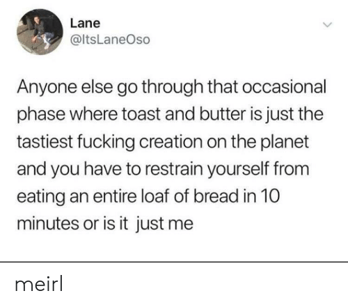 Occasional: Lane  @ItsLaneOso  Anyone else go through that occasional  phase where toast and butter is just the  tastiest fucking creation on the planet  and you have to restrain yourself from  eating an entire loaf of bread in 10  minutes or is it just me meirl