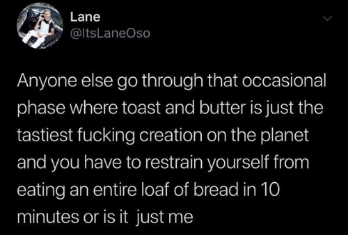 Occasional: Lane  @ltsLaneOso  Anyone else go through that occasional  phase where toast and butter is just the  tastiest fucking creation on the planet  and you have to restrain yourself from  eating an entire loaf of bread in 10  minutes or is it just me