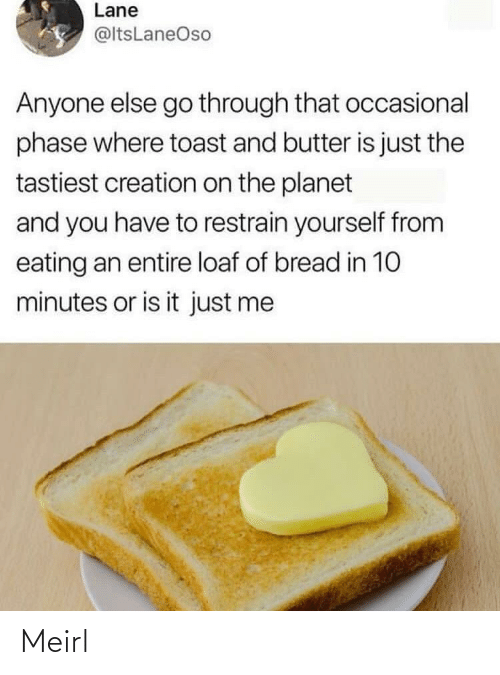 eating: Lane  @ltsLaneOso  Anyone else go through that occasional  phase where toast and butter is just the  tastiest creation on the planet  and you have to restrain yourself from  eating an entire loaf of bread in 10  minutes or is it just me Meirl