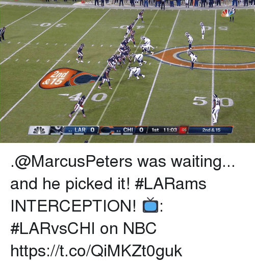 lar: LAR 0  4 CHI 0 1st 11:03 :05  8-4  2nd & 15 .@MarcusPeters was waiting... and he picked it!  #LARams INTERCEPTION!   📺: #LARvsCHI on NBC https://t.co/QiMKZt0guk