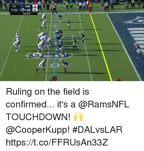 Touchdowners: LAR  3RD & 6  11:02  3 Ruling on the field is confirmed... it's a @RamsNFL TOUCHDOWN!  🙌 @CooperKupp! #DALvsLAR https://t.co/FFRUsAn33Z