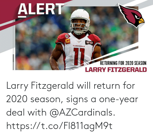 year: Larry Fitzgerald will return for 2020 season, signs a one-year deal with @AZCardinals. https://t.co/Fl811agM9t