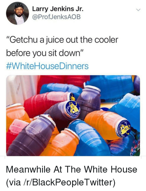 """Jenkins: Larry Jenkins Jr.  @ProfJenksAOB  """"Getchu a juice out the cooler  before you sit down""""  Meanwhile At The White House (via /r/BlackPeopleTwitter)"""