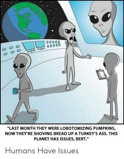 """Ass, Bread, and Issues: """"LAST MONTH THEY WERE LOBOTOMIZING PUMPKINS,  NOW THEY'RE SHOVING BREAD UP A TURKEY'S ASS. THIS  PLANET HAS ISSUES, BERT."""" Humans Have Issues"""