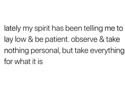 What It Is: lately my spirit has been telling me to  lay low & be patient. observe & take  nothing personal, but take everything  for what it is